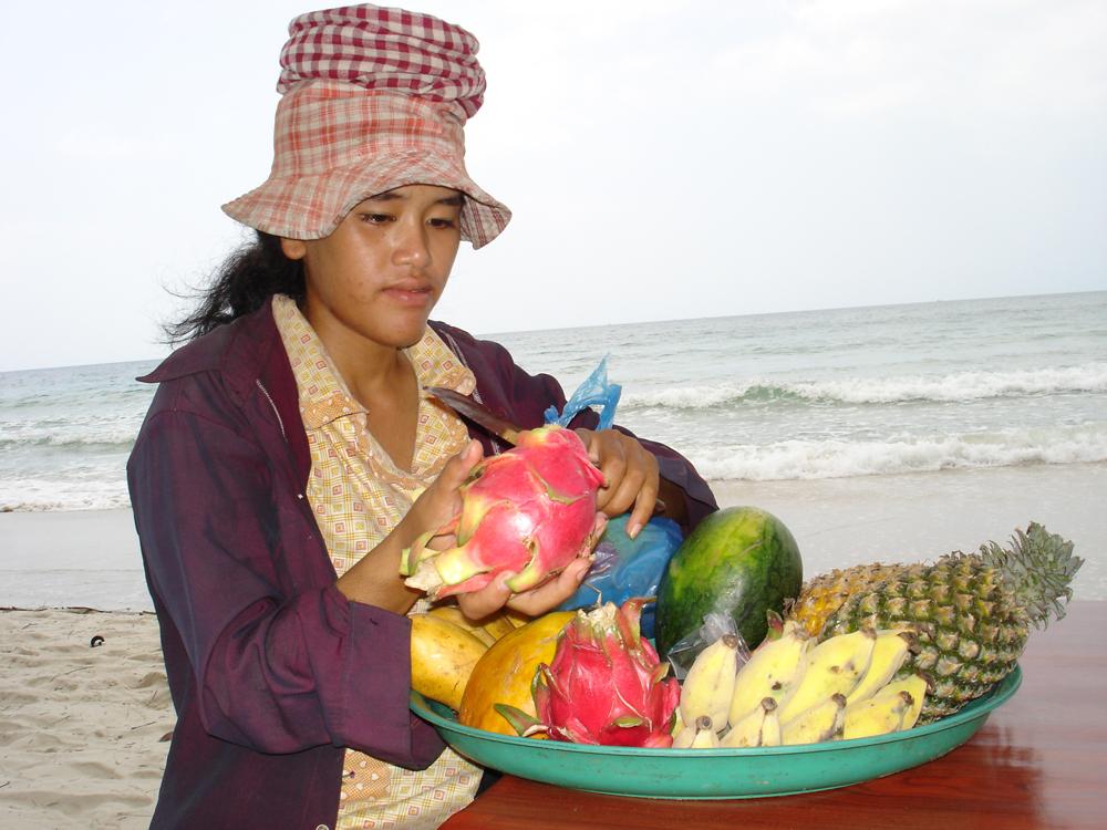 Fruktselger på Ochheuteal Beach.