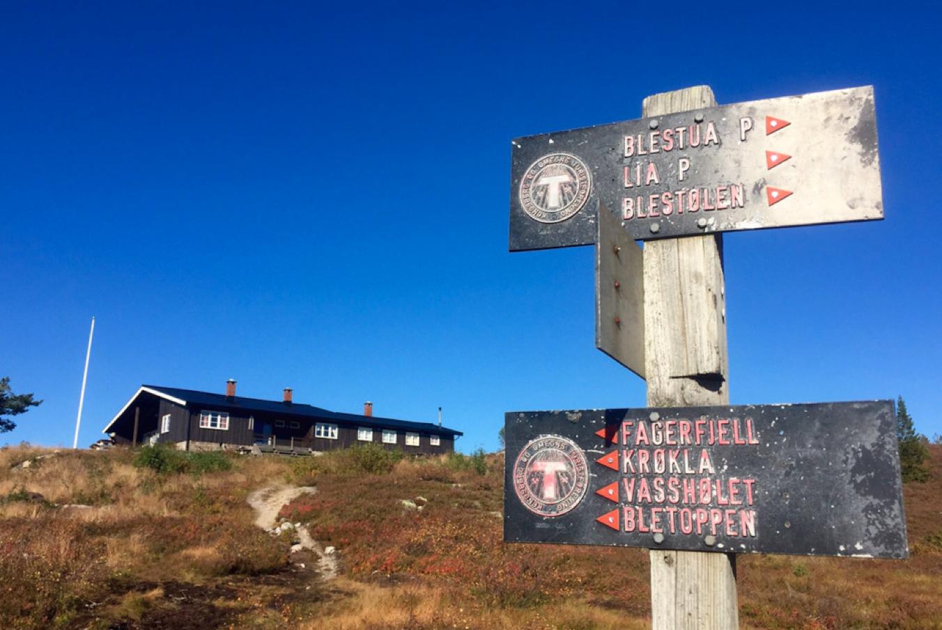 STRUTÅSEN: Fra Blefjellstua til Strutåsen er det drøye to kilometer.