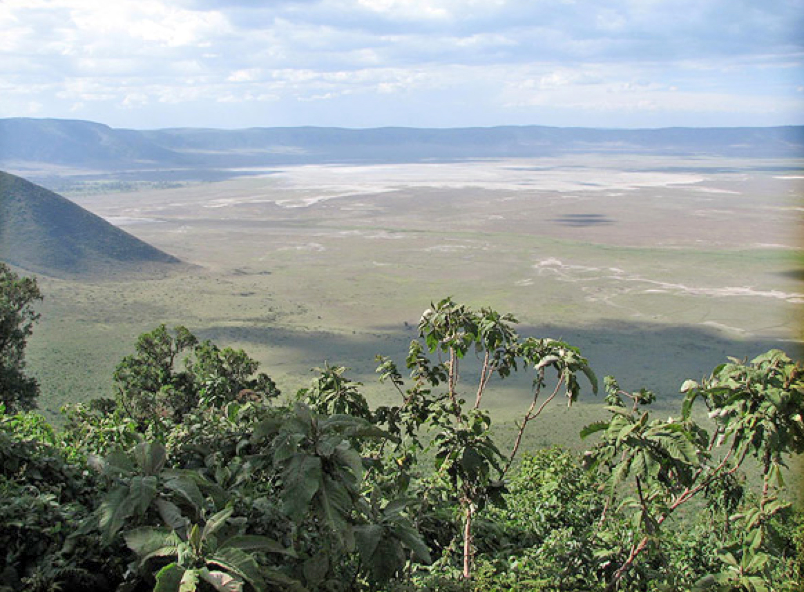 Ngorongorokrateret ligger 2200 moh og kollapset for 2,5 millioner år siden. Sanne & Hans Lykke Gregersen, Tembo Safari.