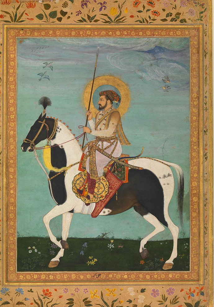 Payag, Shah Jahan on Horseback, Folio from the Shah Jahan Album ca. 1630, Metmuseum: @https://en.wikipedia.org/wiki/Shah_Jahan