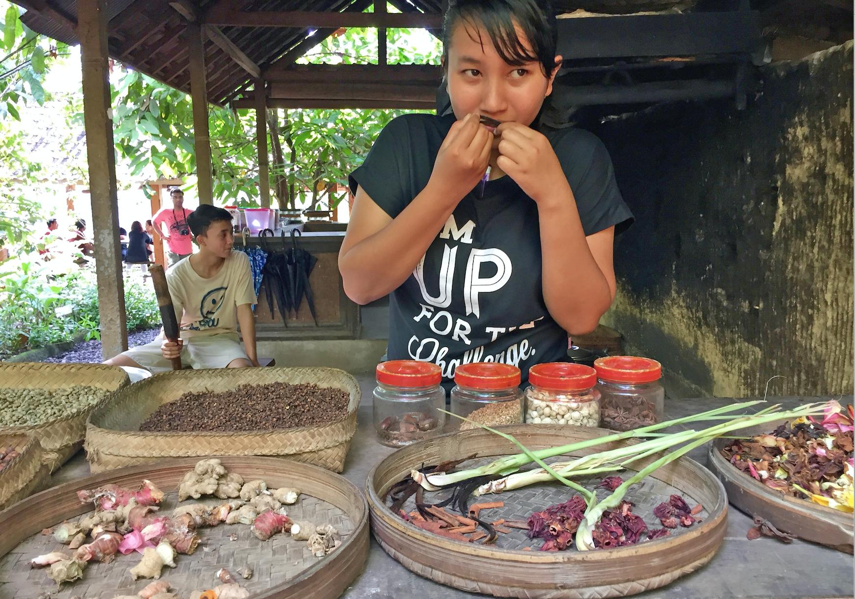 Julia viser fem forskjellige sorter røtter og kaffebønner.