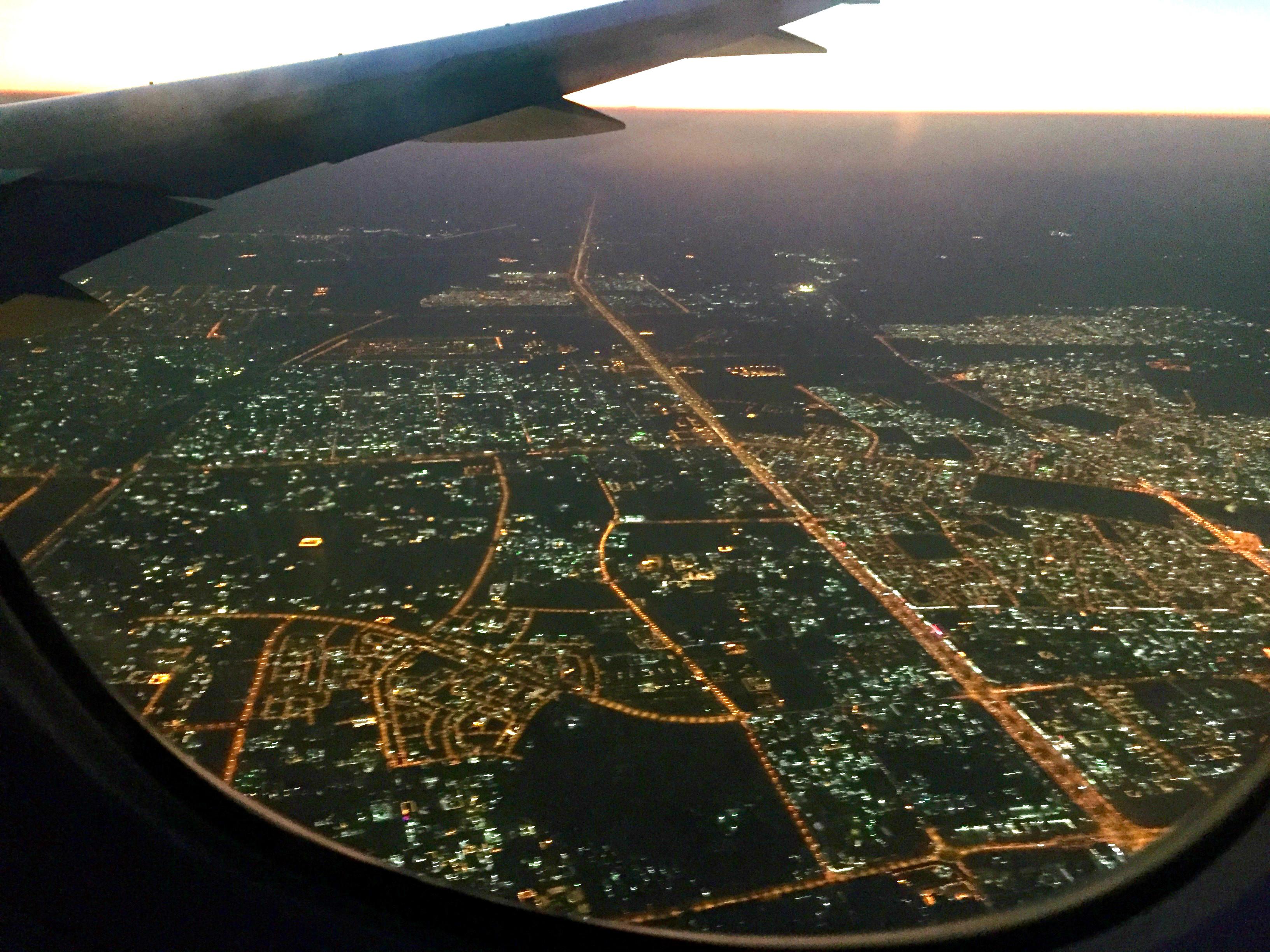 Minutter før landing i Doha.