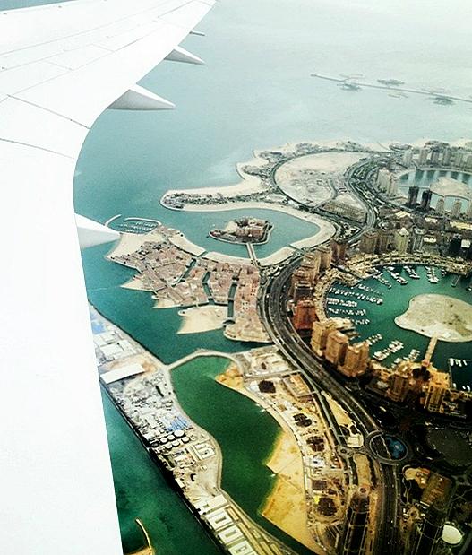 Doha sett fra flyet.