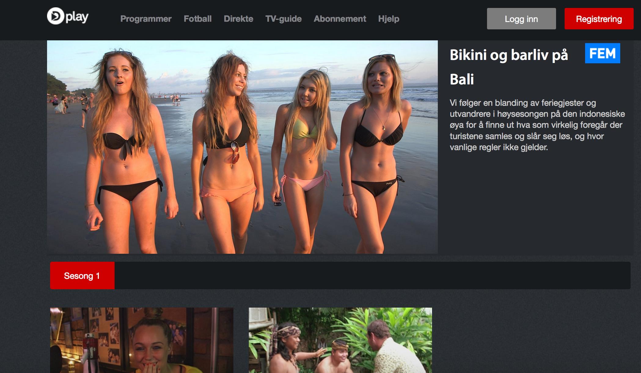 Skjermdump av «Bikini og barliv å Bali», en australsk reality-TV-serie som balinesrene neppe er happy over..