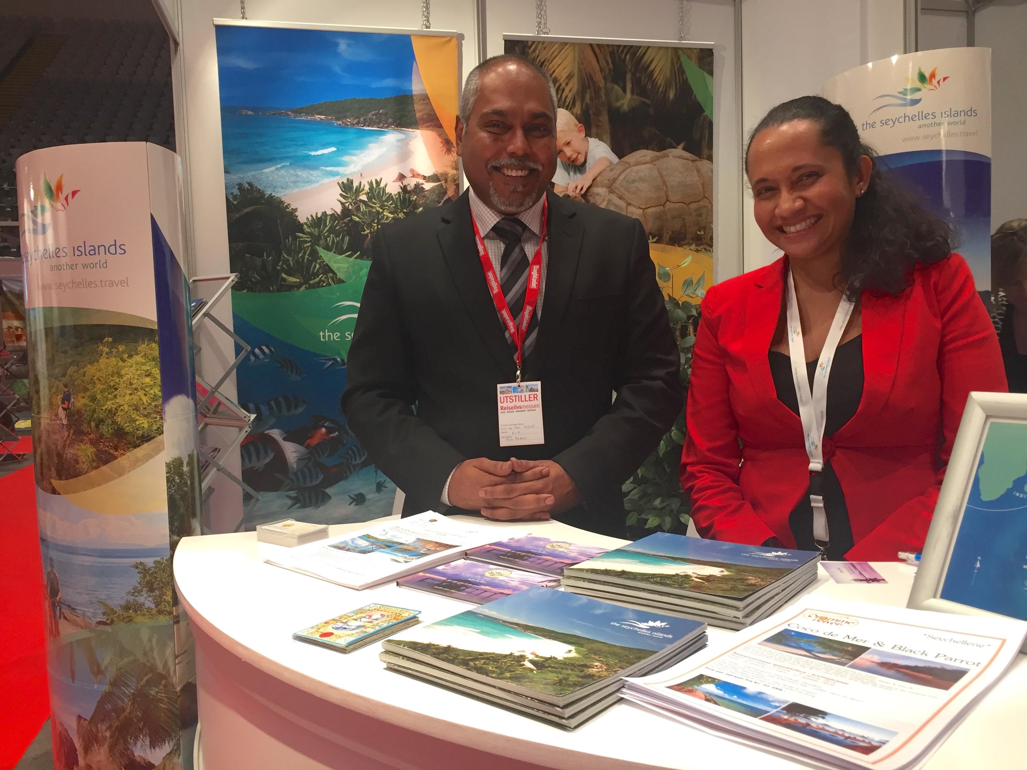 Seychellene representert ved blant annet Ash Behari (t.v) og hotellet Coco de Mer på Praslin.