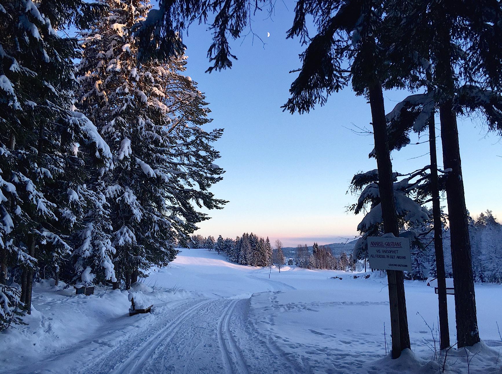 Den siste kilometeren ned fra ROS-hytta passerer over jorder og golfbanen ved Kjekstad.