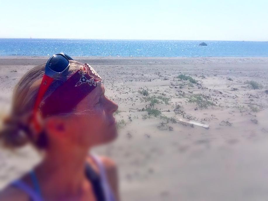 I SYD: Selfi på Listas endeløse strender. En av mine favoritter, både til bading og jogging.
