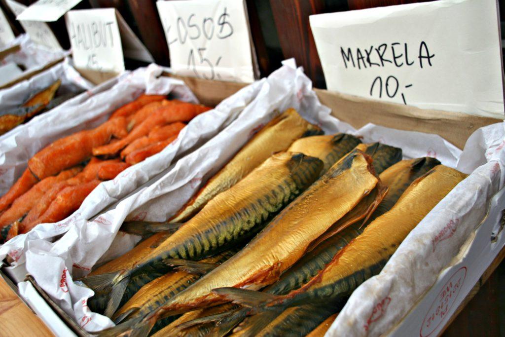 FISK: Makrell og annen fiskemat på markedet i Gdynia.