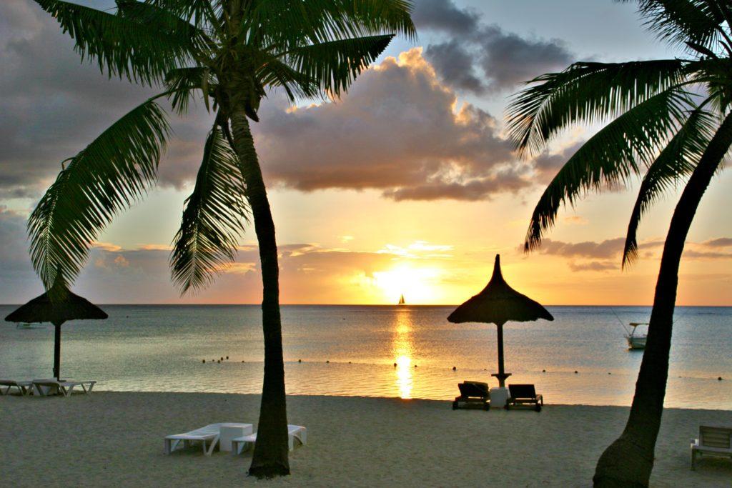 Solnedgang fra Flic en Flac.