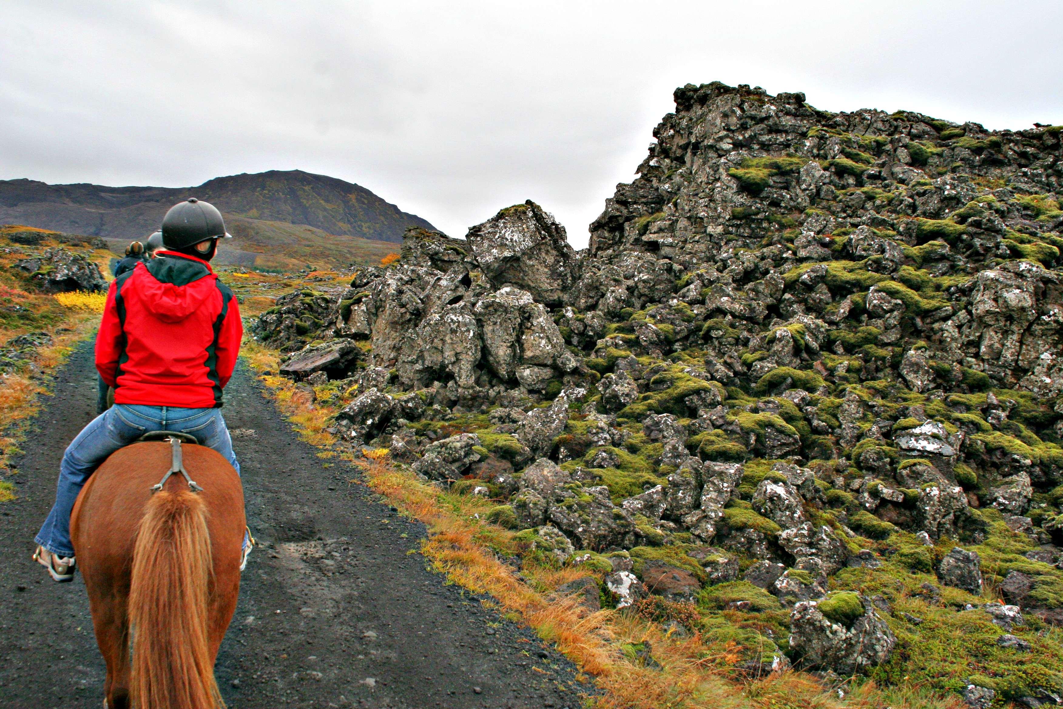 NYBEGYNNER: Camilla Eide fra Skedsmo var den minst erfarne rytterne i venninneflokken. Med en rolig og snill hest gikk turen helt utmerket.